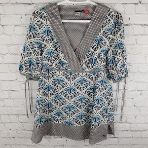ESPRIT | v-neck faux wrap short sleeve blouse